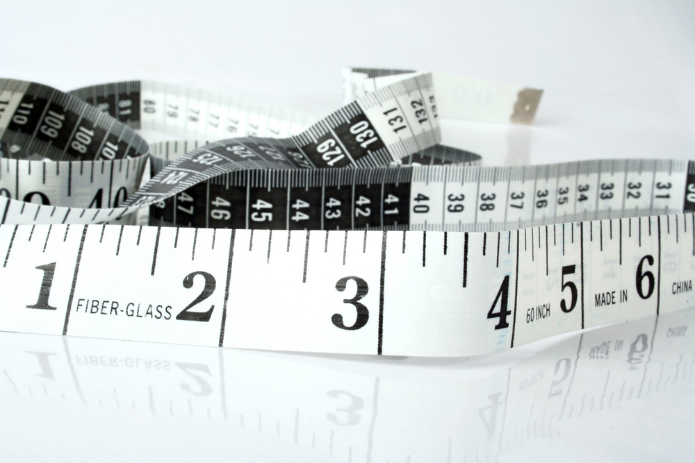 measuring tape with reflection