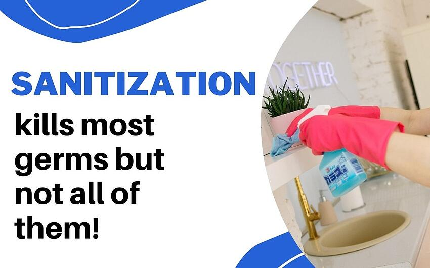 sanitization kills most germs but not all of them