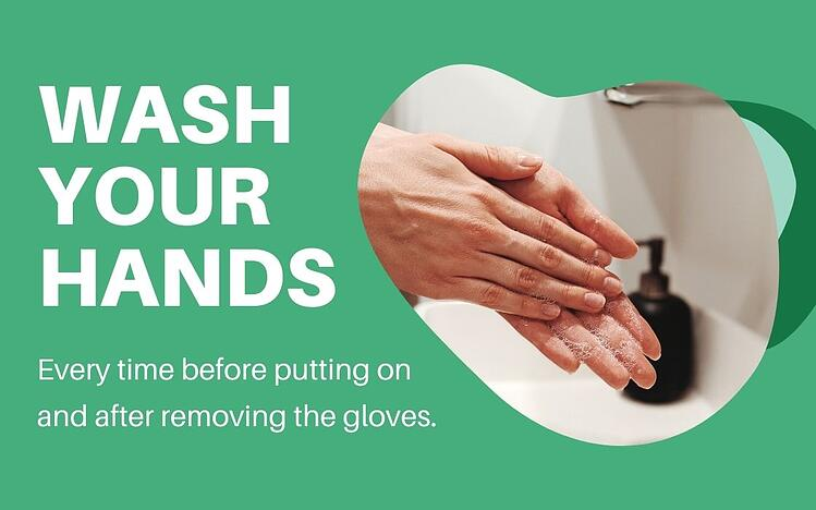 wash hands before wear gloves